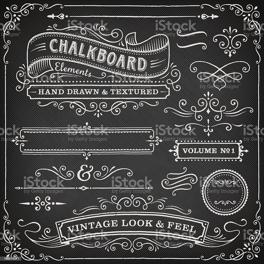 Chalkboard ornate design elements royalty-free stock vector art