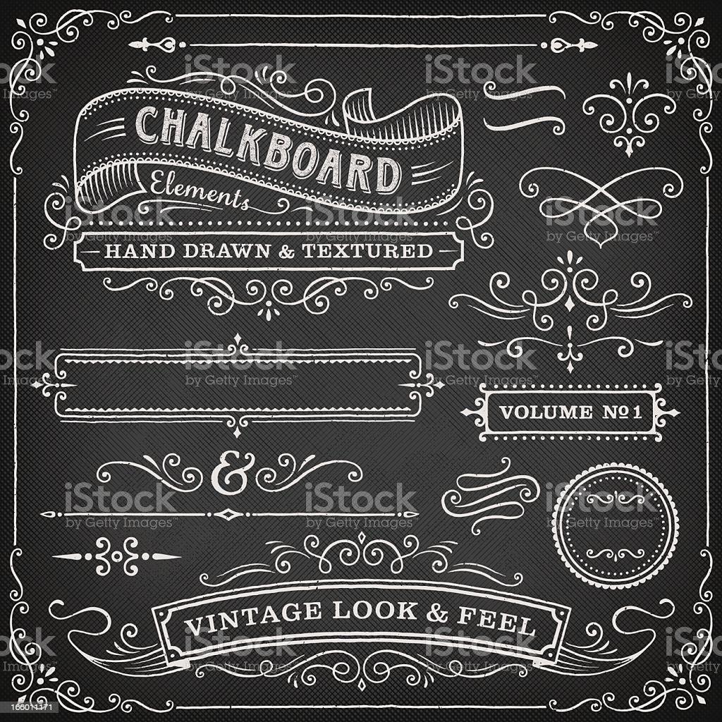 Chalkboard ornate design elements vector art illustration