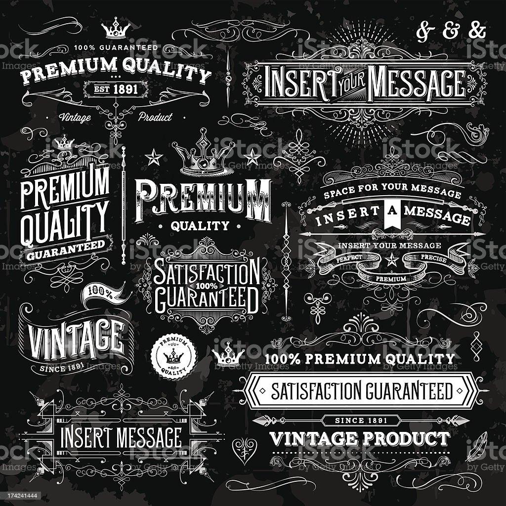 Chalkboard Ornate Vintage Elements vector art illustration