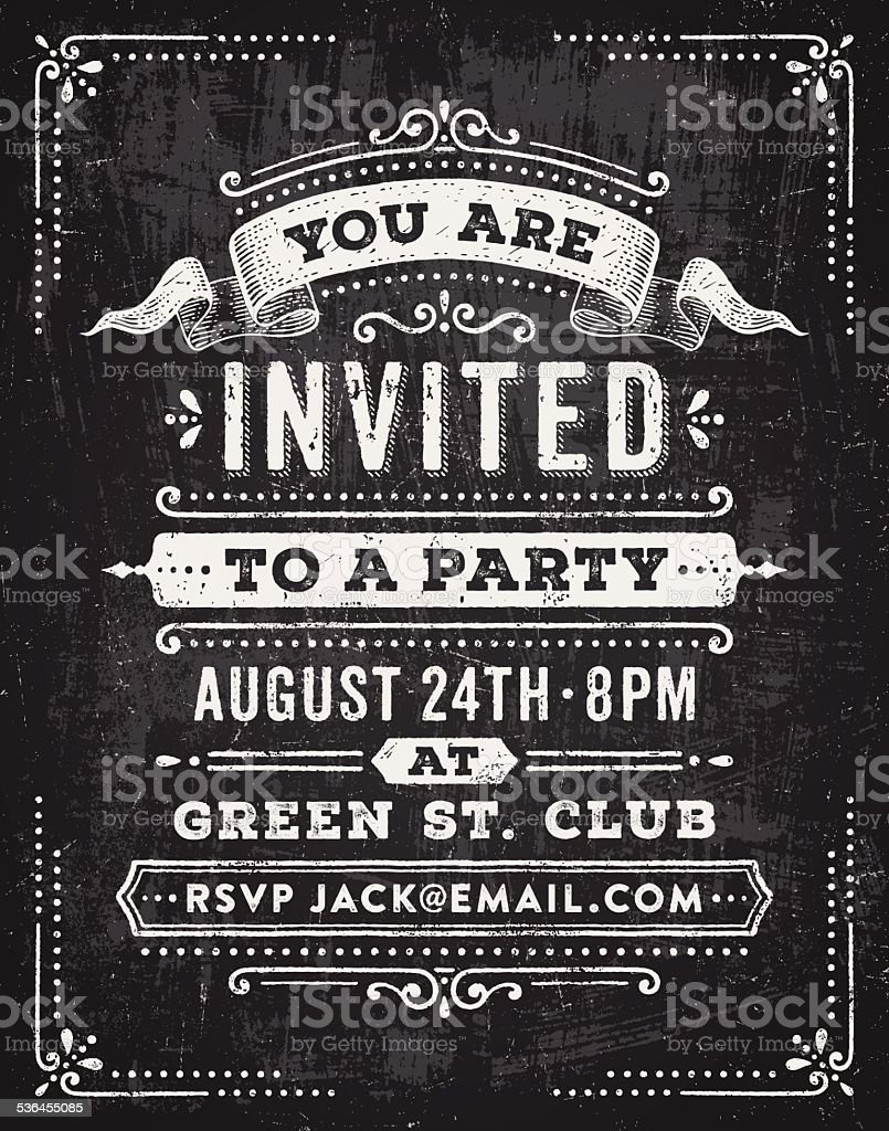 Chalkboard Party Invitation vector art illustration