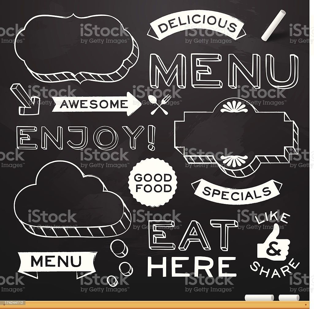 Chalkboard Restaurant Menu Elements vector art illustration