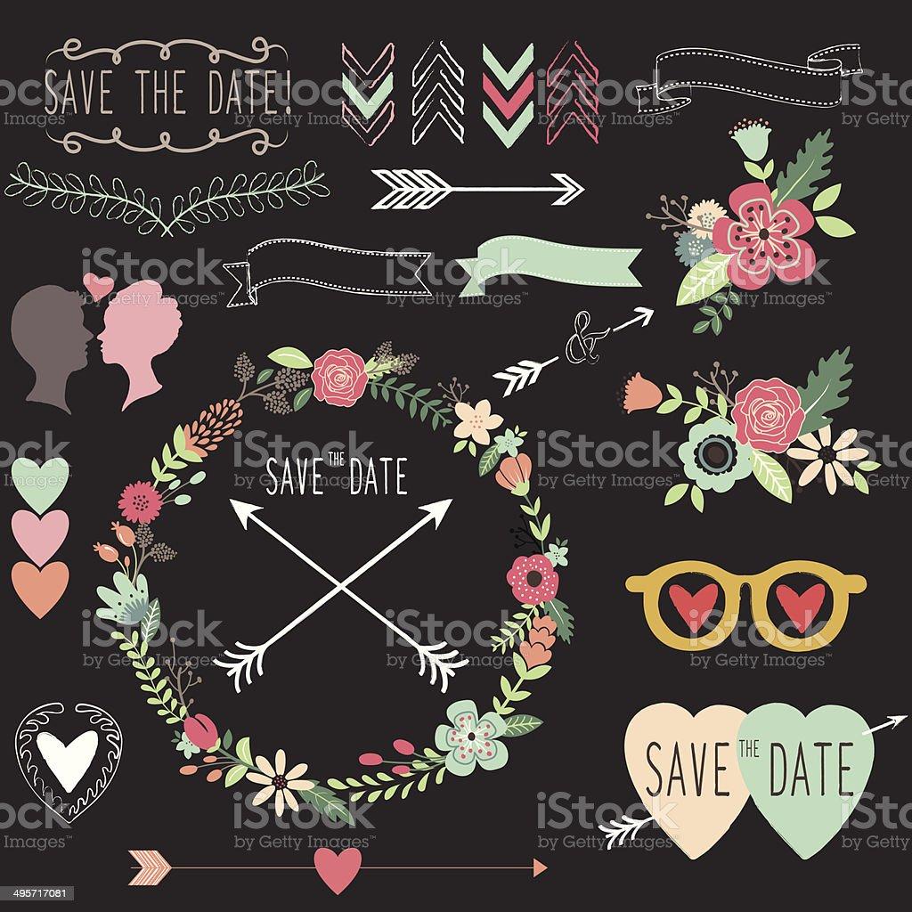 Chalkboard Retro Wedding design elements- Illustration royalty-free stock vector art