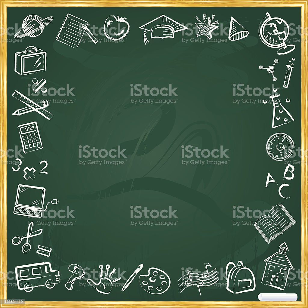 Chalkboard School Symbols royalty-free stock vector art