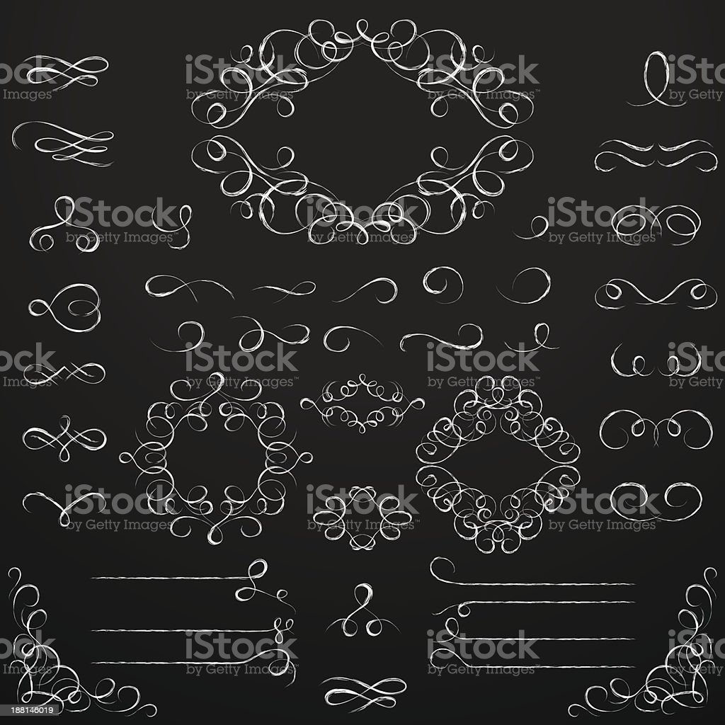 Chalkboard set of calligraphic design elements. royalty-free stock vector art