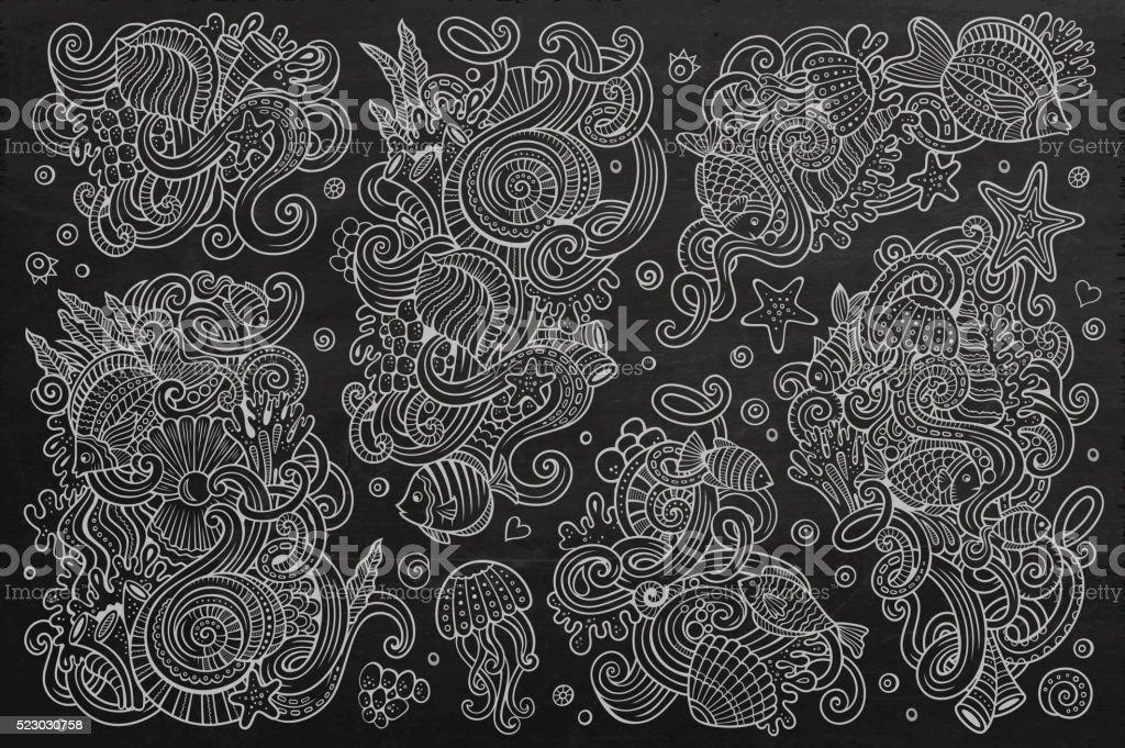 Chalkboard set of marine life objects vector art illustration