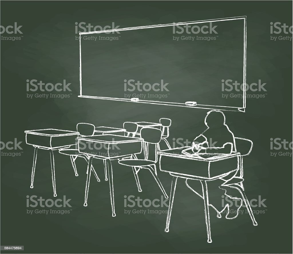 Chalkboard Student Alone In Classroom vector art illustration