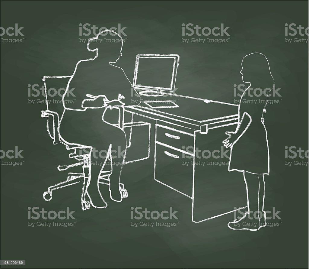 Chalkboard Student Chatting With Teacher vector art illustration