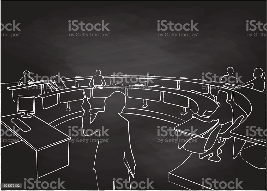 Chalkboard Student Lecture Hall vector art illustration