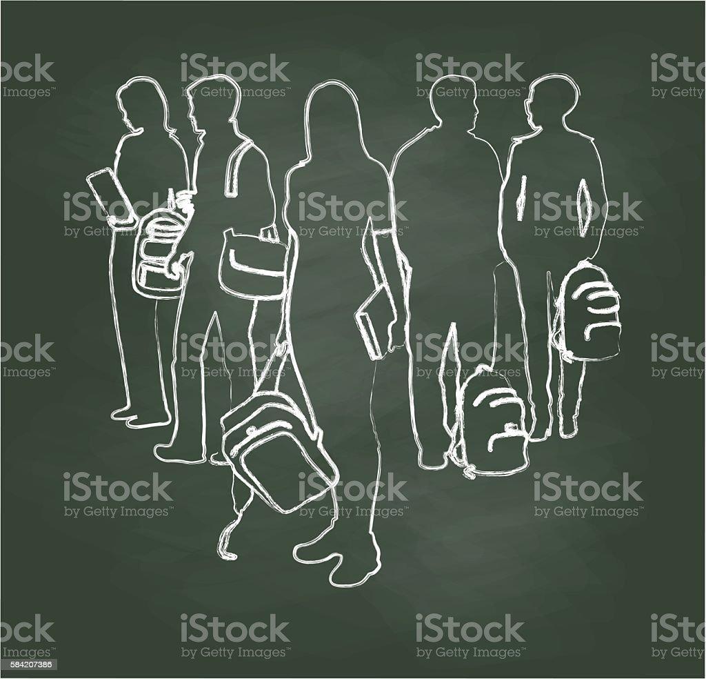 Chalkboard Student Triangle vector art illustration