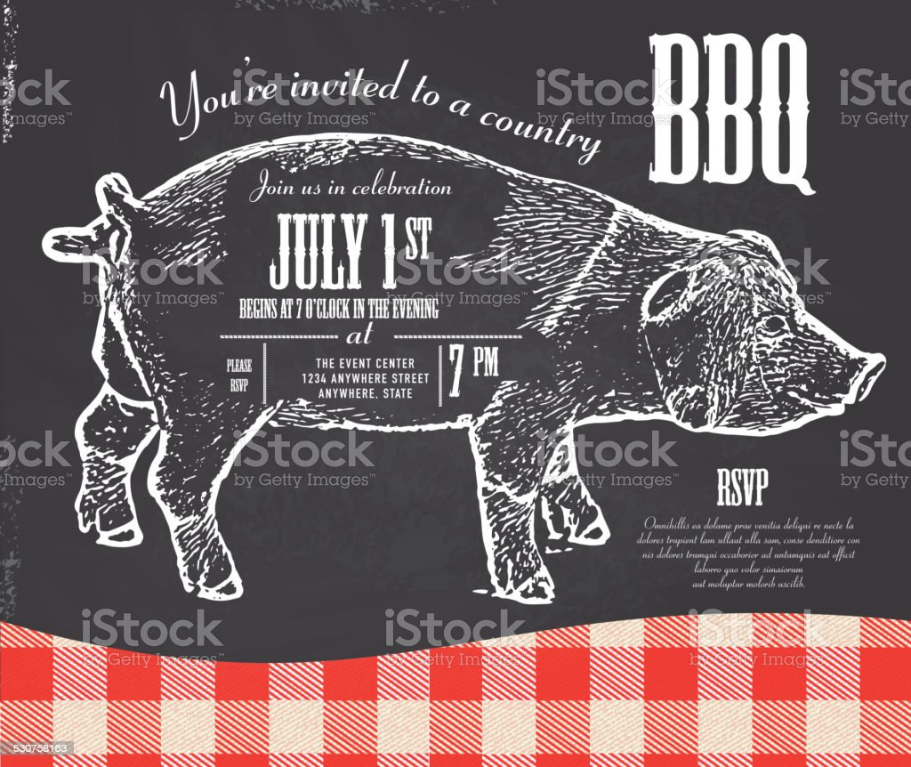 Chalkboard style Country pork BBQ invitation design template vector art illustration