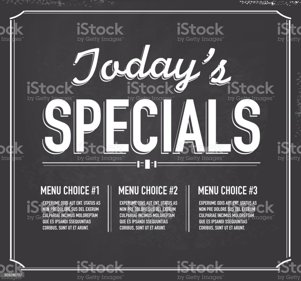 Chalkboard style text template Today's Special design vector art illustration