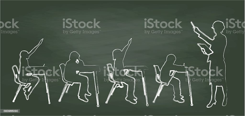 Chalkboard Teacher And Small Classroom vector art illustration