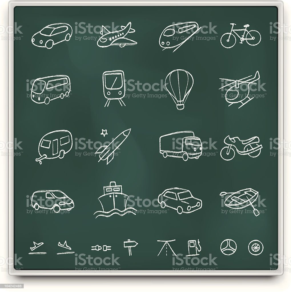 Chalkboard transport icons royalty-free stock vector art