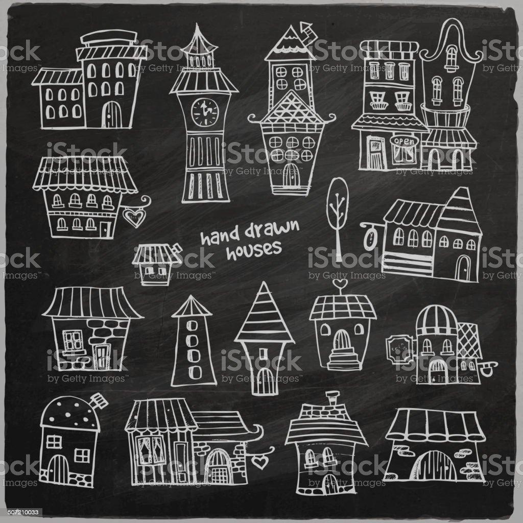 chalkboard vector fairy tale houses royalty-free stock vector art