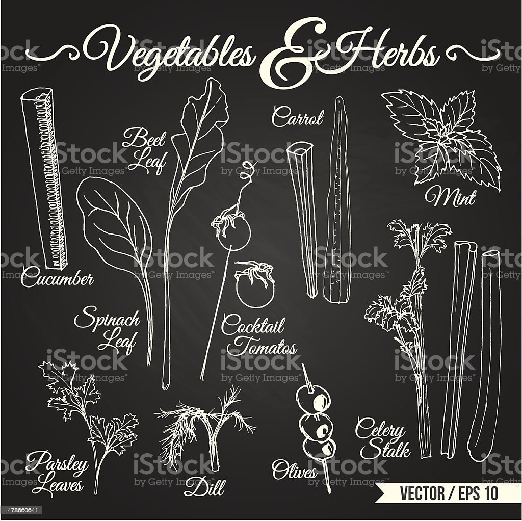 VEGETABLES & HERBS chalkboard vector art illustration