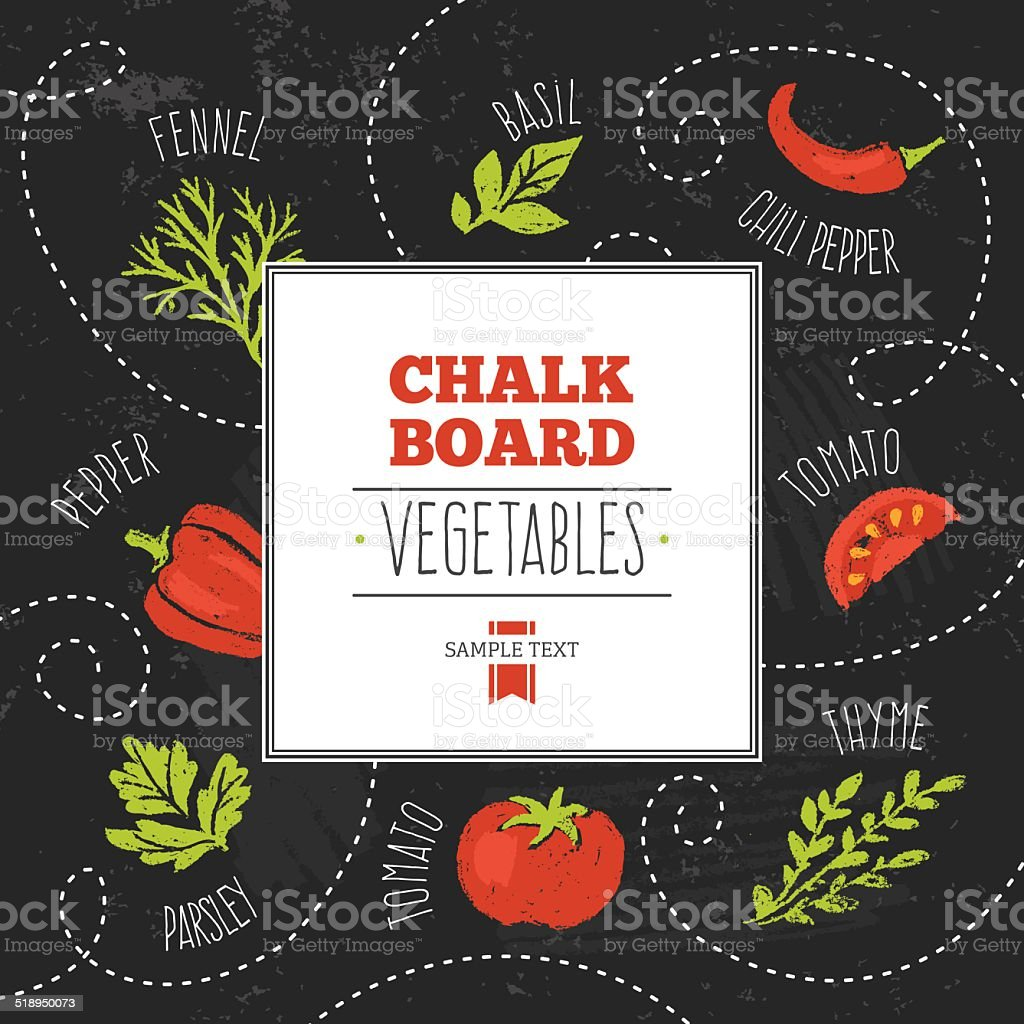 Chalkboard Vegetables vector art illustration