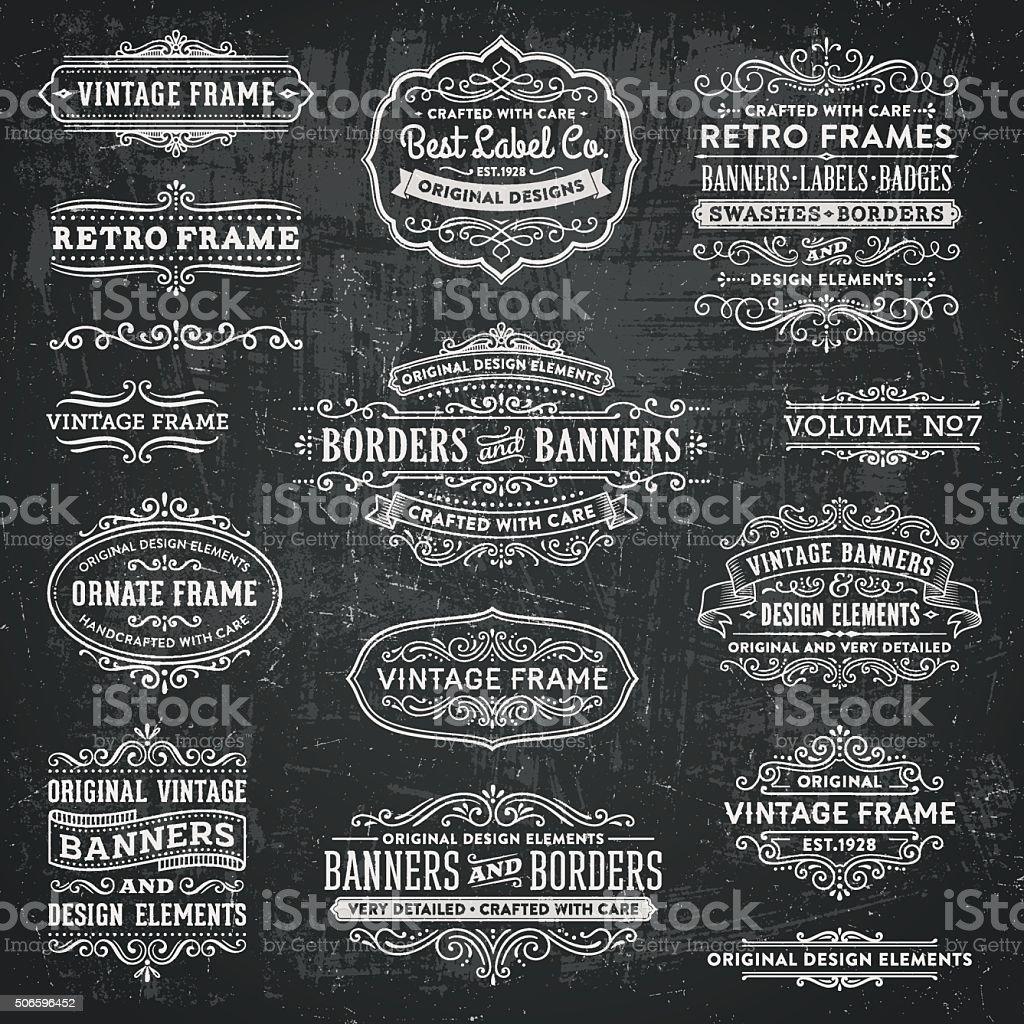 Chalkboard Vintage Frames, Banners and Badges vector art illustration