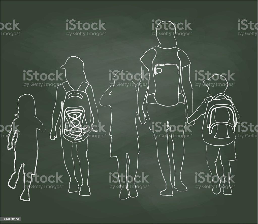 Chalkboard Walking To School Kids vector art illustration