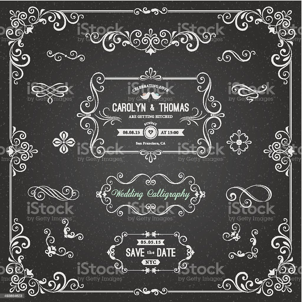 Chalkboard Wedding Calligraphy vector art illustration