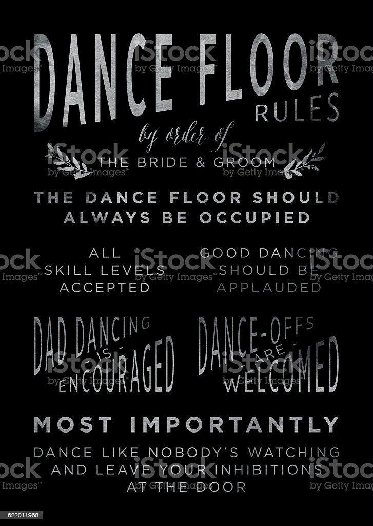 Chalkboard Wedding Dancefloor Rules Sign vector art illustration
