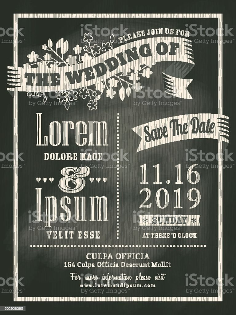 chalkboard Wedding Invitation card background vector art illustration