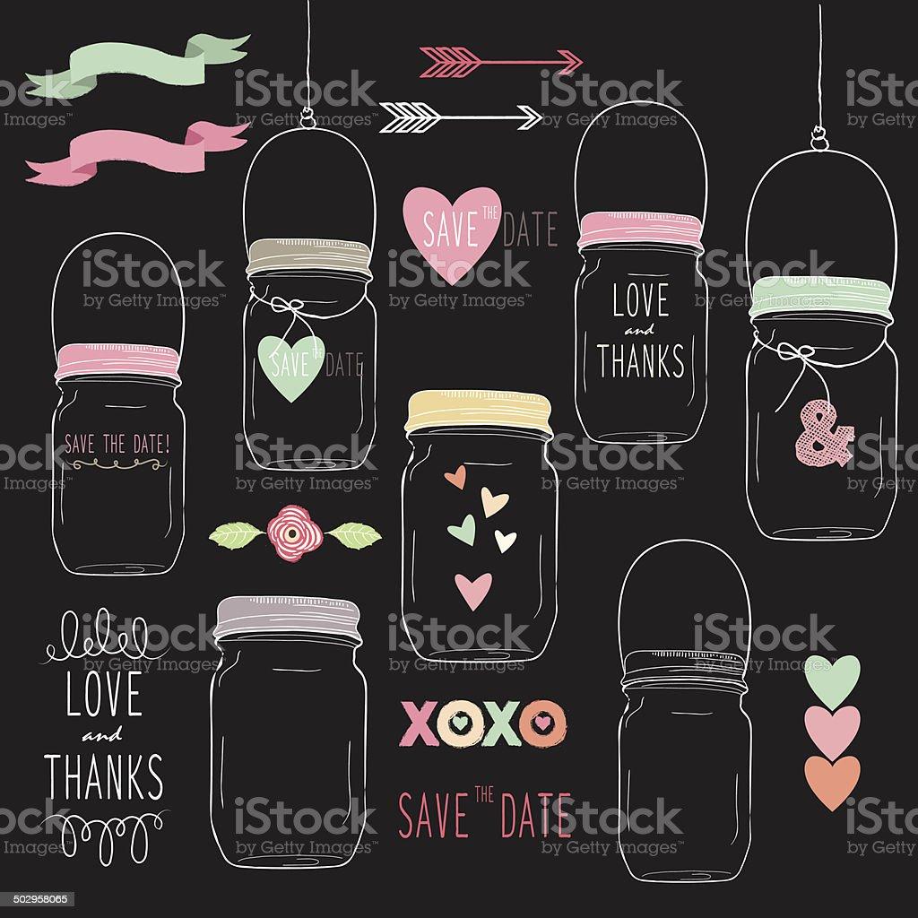 Chalkboard Wedding Mason Jar- Illustration royalty-free stock vector art