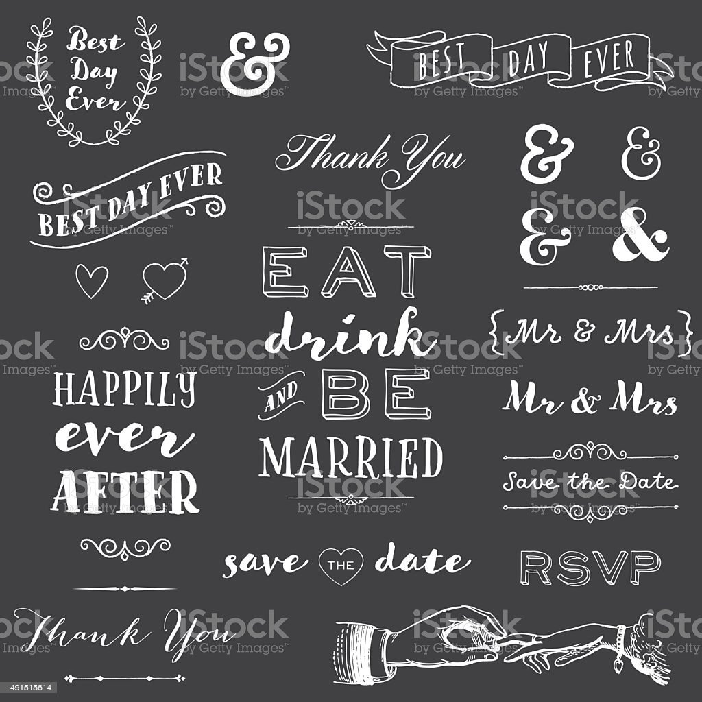 chalkboard wedding typography vector art illustration