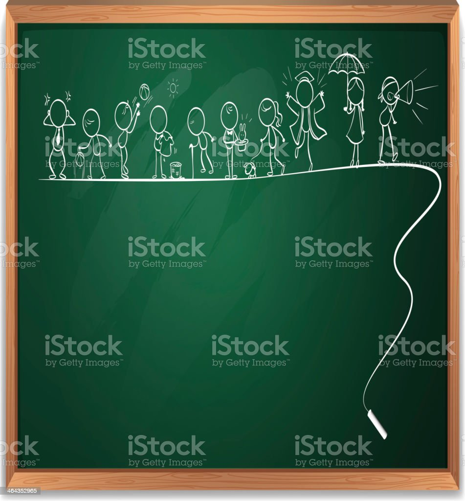 Chalkboard with a drawing of children royalty-free stock vector art