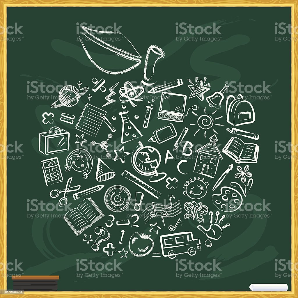 Chalkboard with Apple vector art illustration
