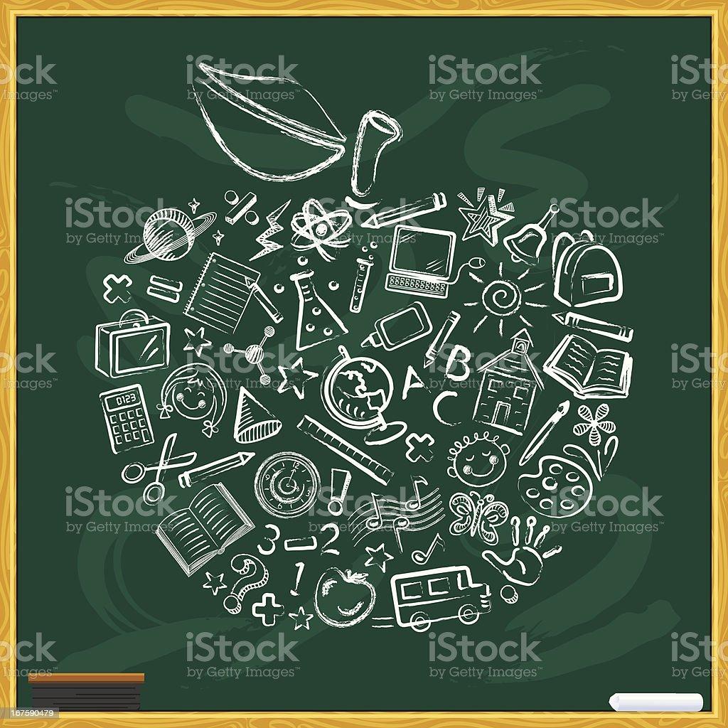 Chalkboard with Apple vector art illustration
