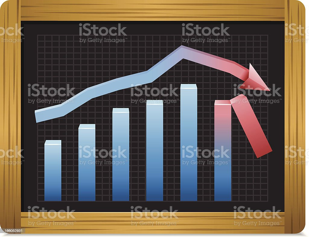 Chalkboard with Business Graph royalty-free stock vector art