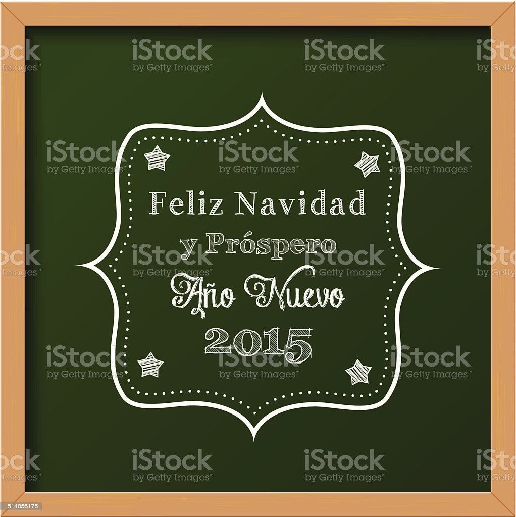 chalkboard with christmas greeting in spanish vector art illustration