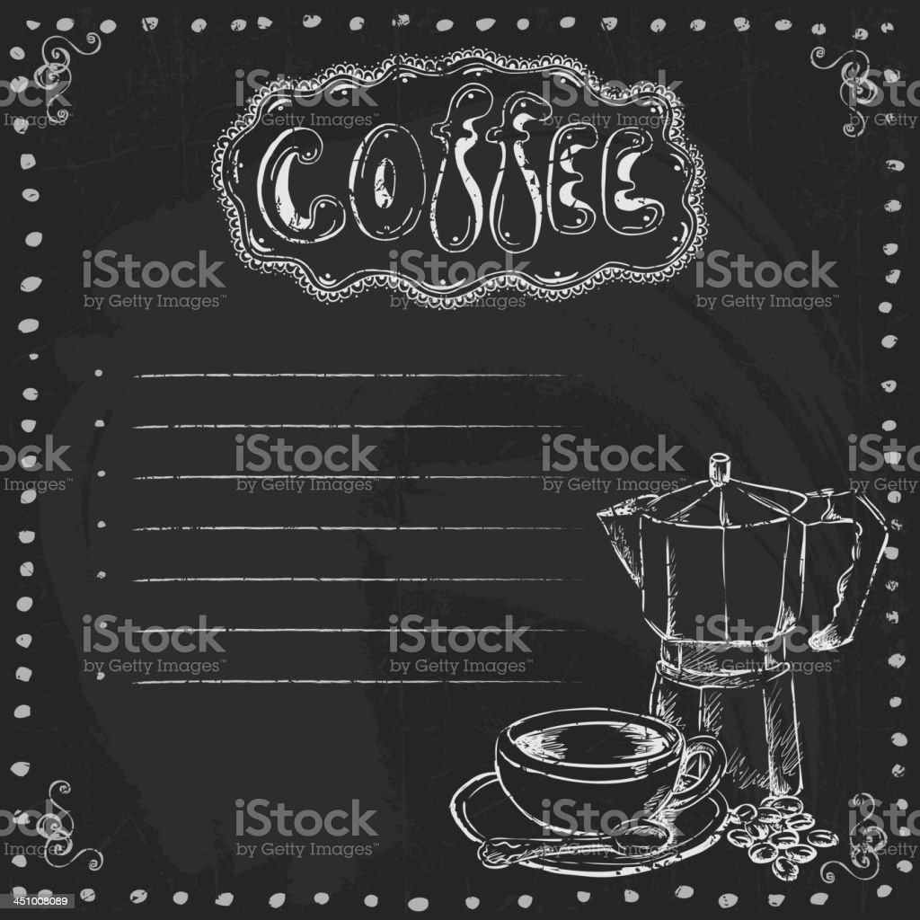 Chalkboard  with Coffee royalty-free stock vector art