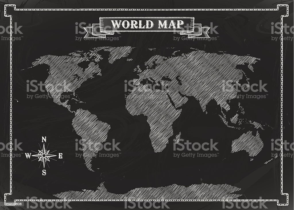 Chalkboard World Map royalty-free stock vector art