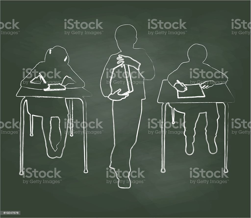 Chalkboard Young Students At Work vector art illustration