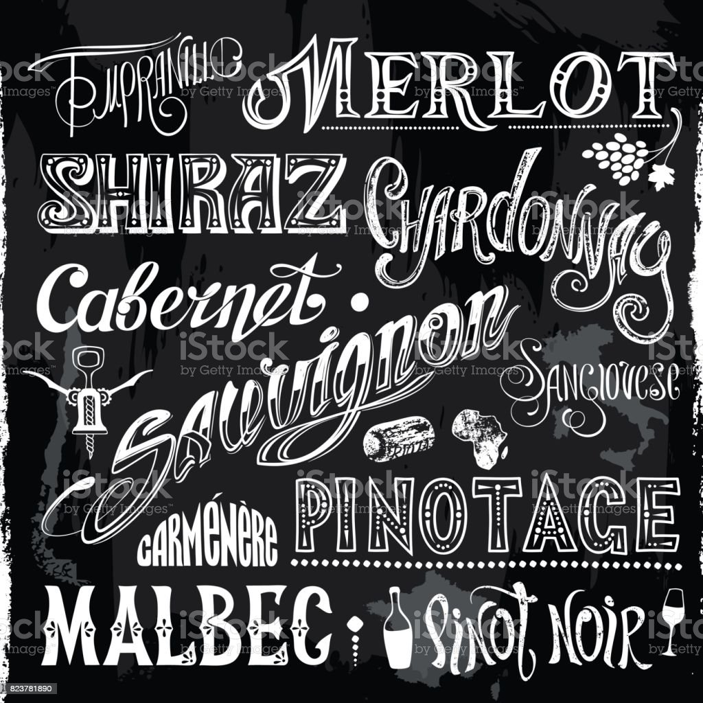 Chalk-drawn Sorts Wine Titles vector art illustration