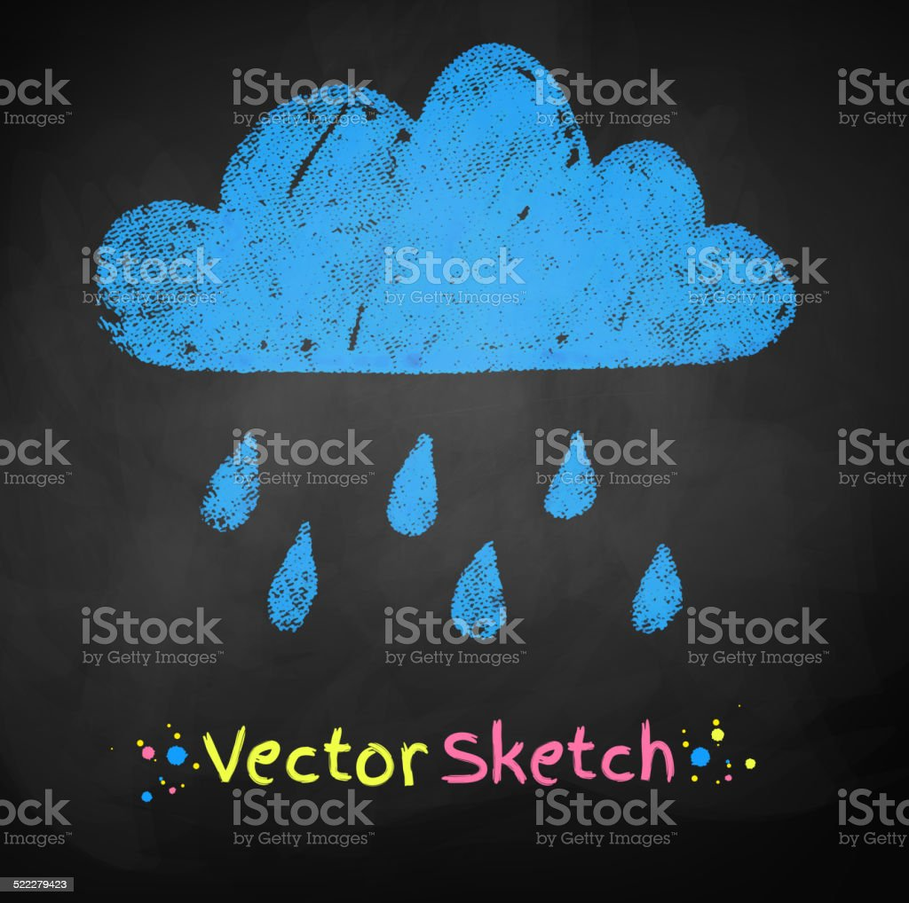 Chalked childlike drawing of rainy cloud. vector art illustration