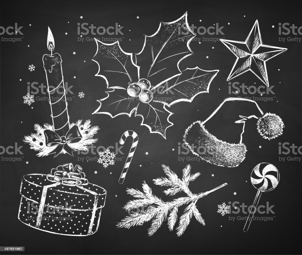 Chalked Christmas sketches collection vector art illustration