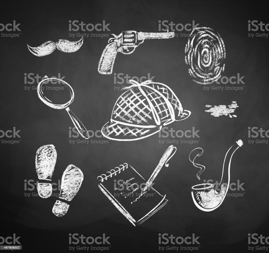 Chalked detective set. vector art illustration
