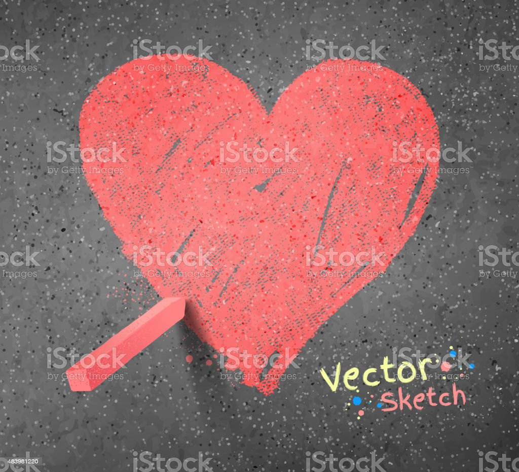 Chalked drawing of heart. vector art illustration