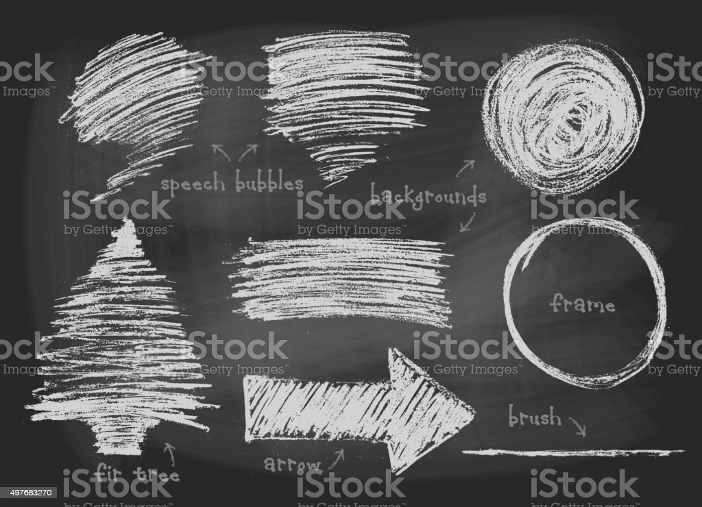 Chalked drawn elements set vector art illustration