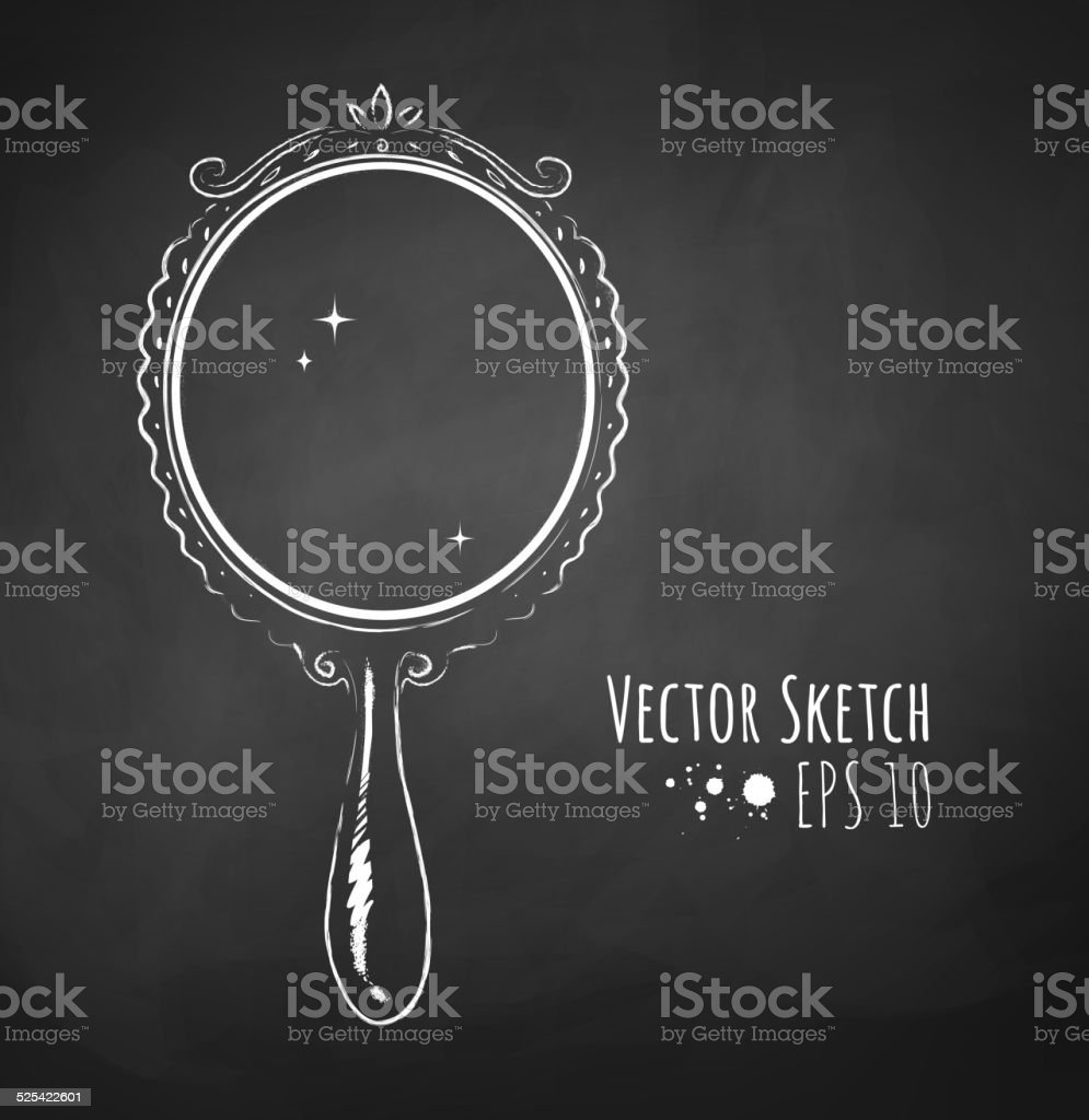 Chalked vector sketch of vintage mirror. vector art illustration