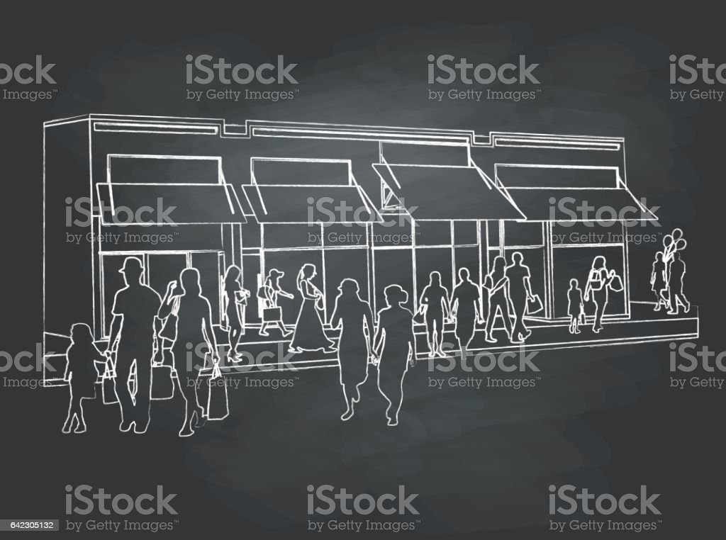 chalk-kids vector art illustration