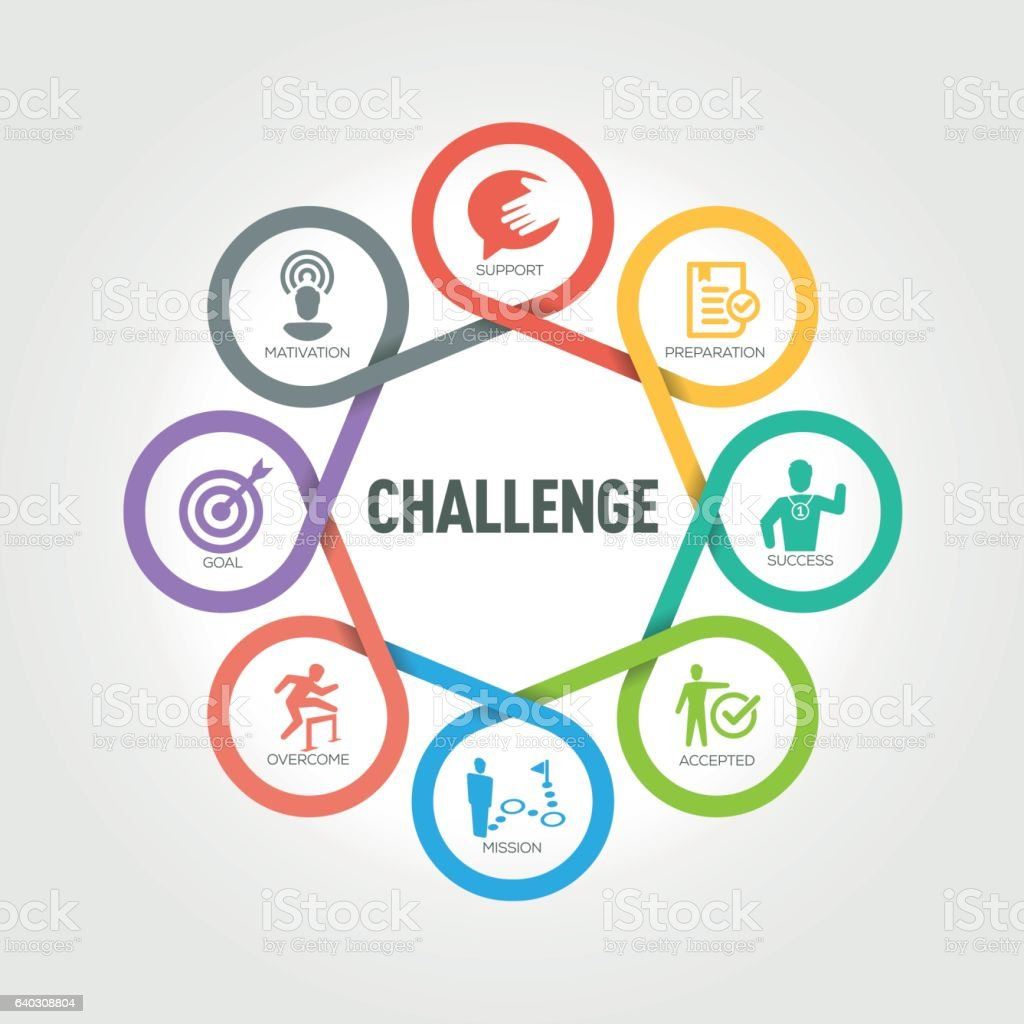 Challenge infographic with 8 steps, parts, options vector art illustration