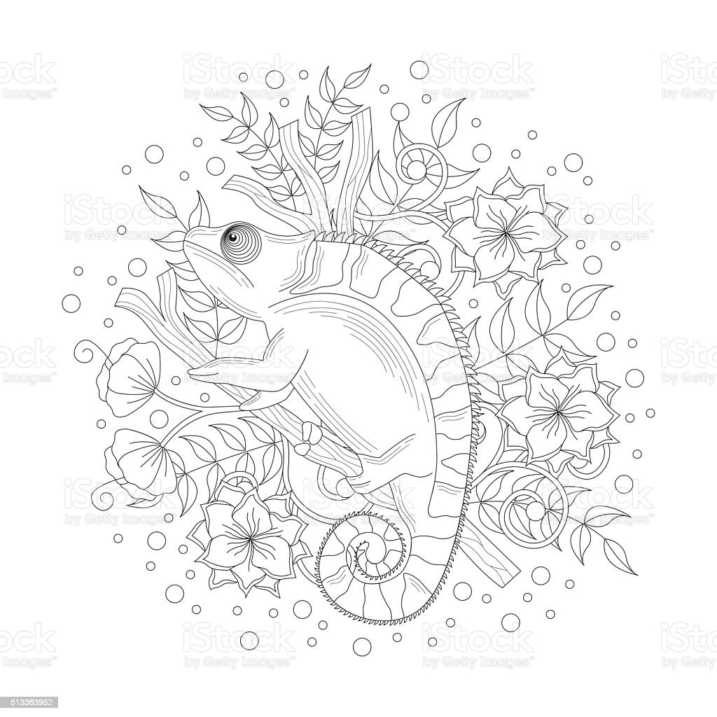 Chameleon coloring book vector art illustration