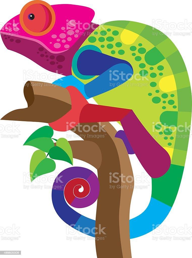 chameleon vector art illustration