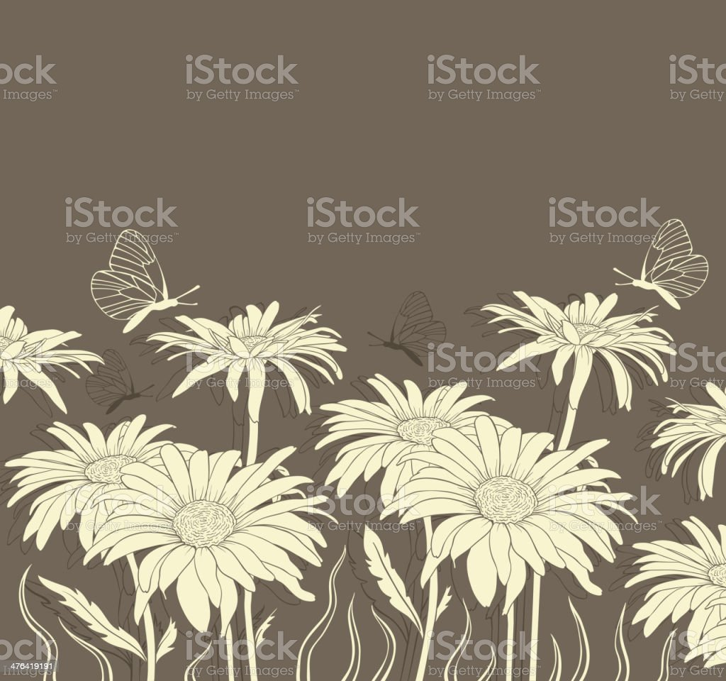 Chamomile and butterflies royalty-free stock vector art