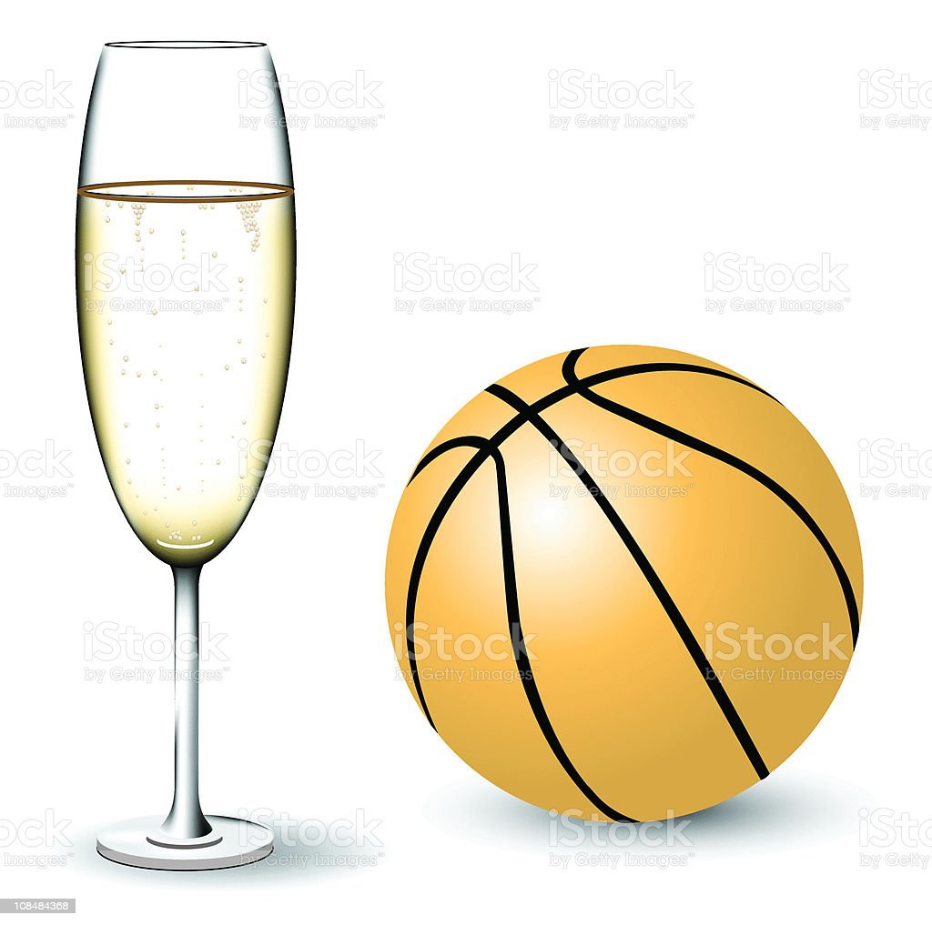 Champagne and  basketball royalty-free stock vector art