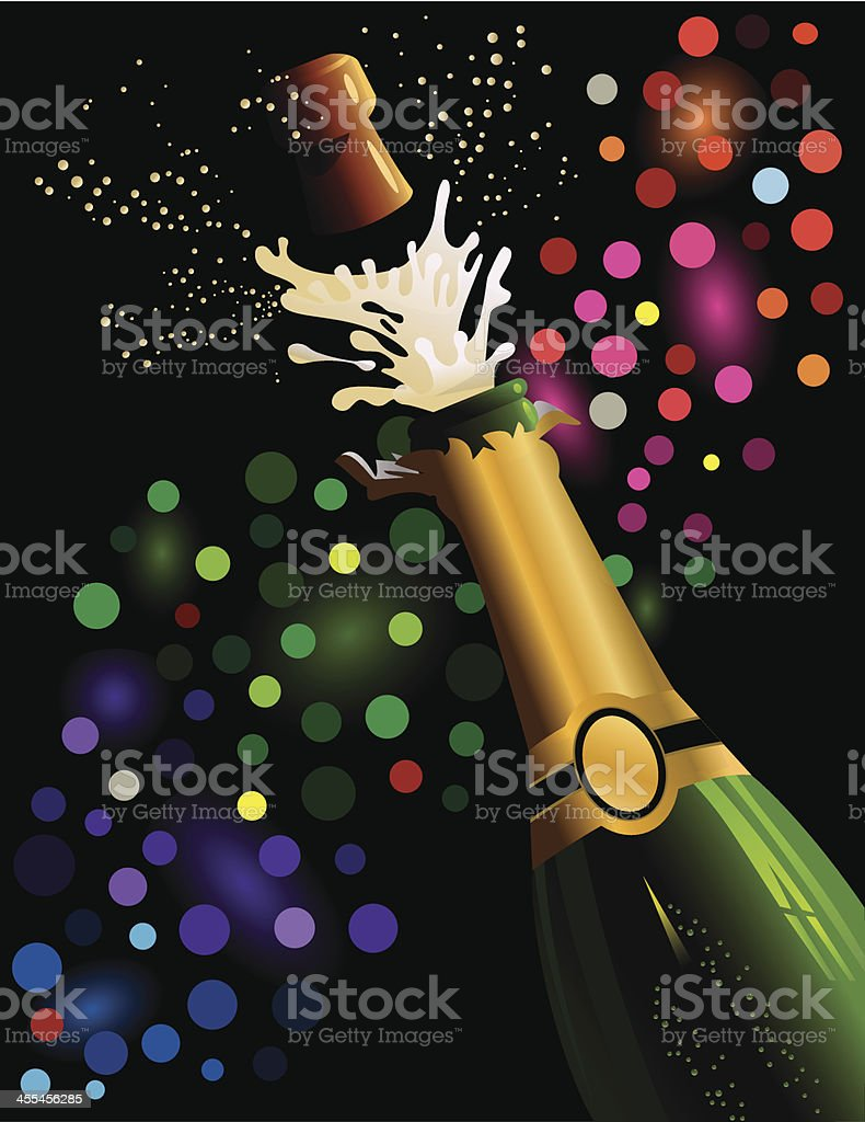 Champagne bottle and cork popping royalty-free stock vector art