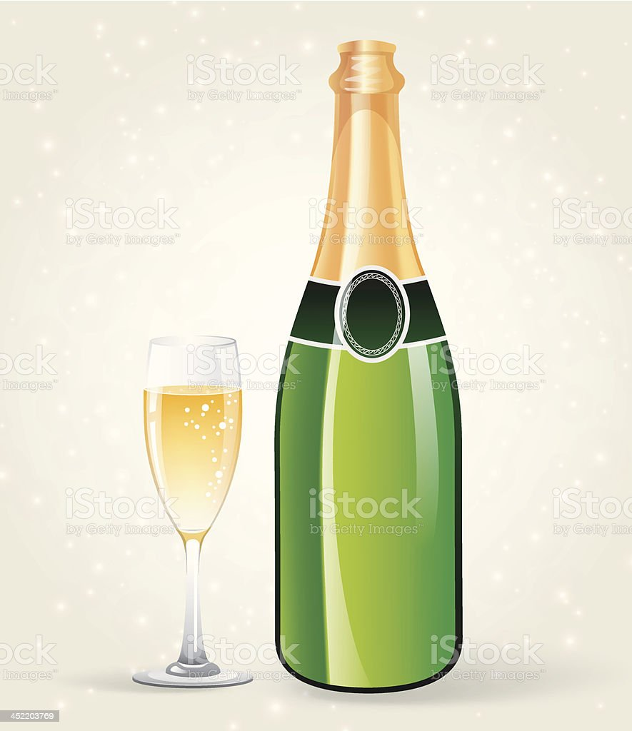 Champagne bottle and glass royalty-free stock vector art